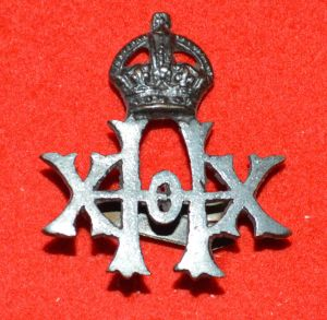 20th Hussars Officer's Bronze Field Services Cap Badge